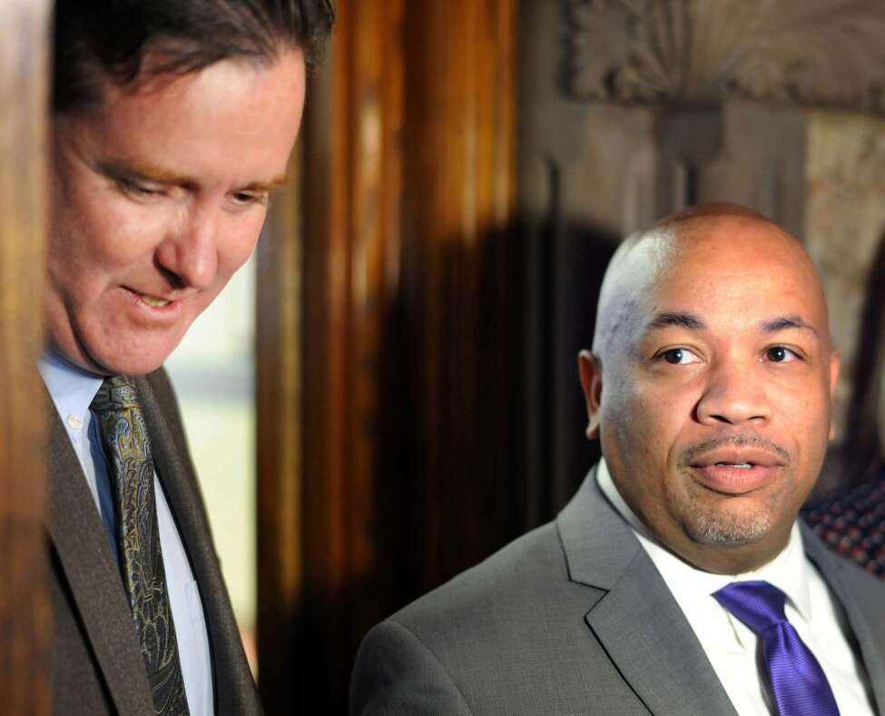 Senate Majority Leader John Flanagan, left, and Assembly Speaker Carl Heastie on March 29, 2016, at the Capitol in Albany, NY. (John Carl D'Annibale / Times Union)