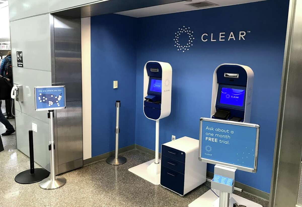 A new CLEAR sign up nook at SFO. Clear uses fingerprints and iris scans to ID passengers