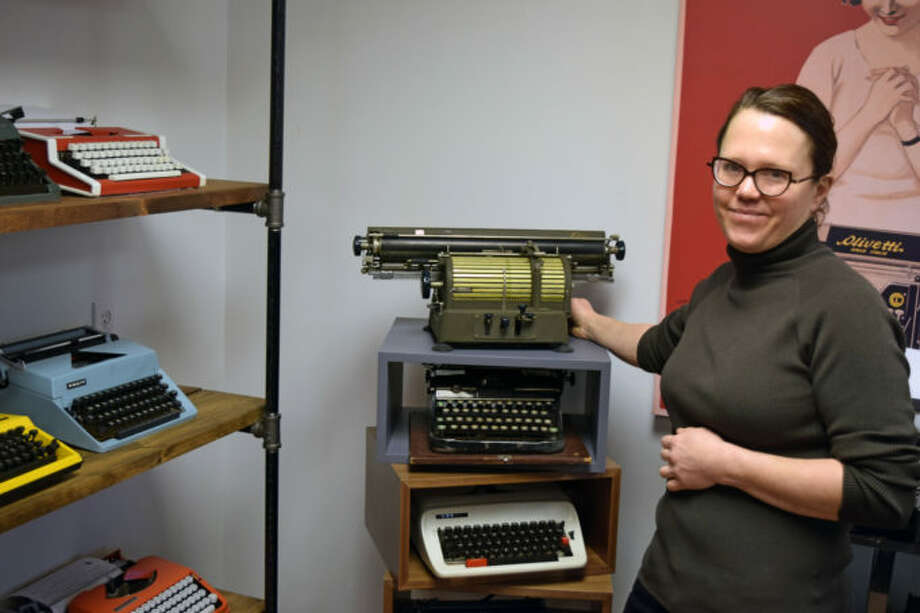 Karin Kessler and her typewriter inventory at Backspace Westport LLC in Westport. Photo: Phil Hall