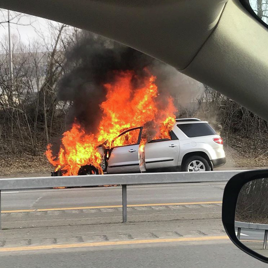 A car fire on I-787 is captured by a passerby on March 27, 2018. Photo: Instagram User Blondieee._.corn21