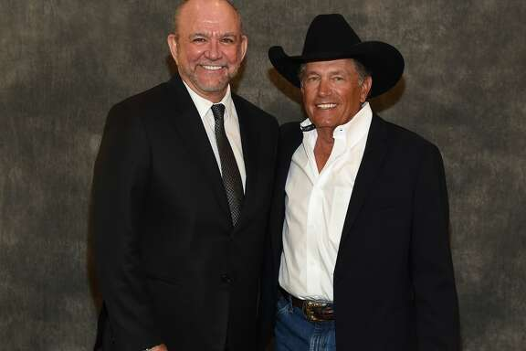 Louis Messina (Messina Touring Group) and George Strait attend George Strait Honored as Texan of the Year at New Braunfels' Chamber of Commerce on March 23, 2018 in New Braunfels, Texas.