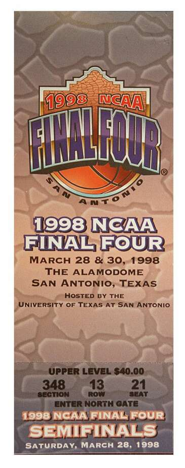 A general admission ticket for Saturday's NCAA Final Four semi-final match at the Alamodome is shown in San Antonio Thursday, March 26, 1998. Photo: DARREN W. ABATE, AP / AP