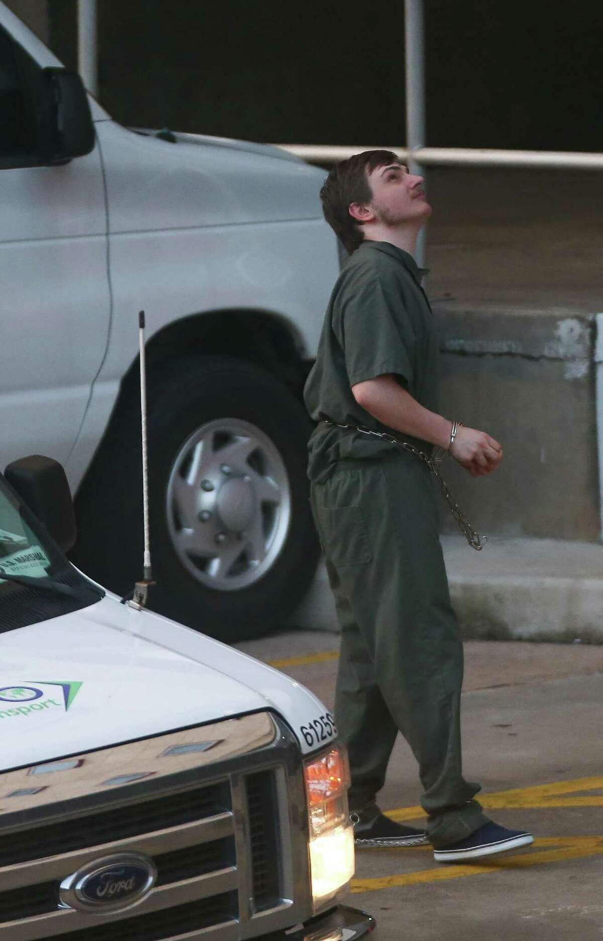 Andrew Cecil Schneck, who is being accused of trying to bomb the statue of a confederate officer in Hermann Park in August, arrives for the preliminary examination and detention hearing before U.S. Magistrate Judge Mary Milloy outside the United States District Courthouse Tuesday, Sept. 19, 2017, in Houston. ( Godofredo A. Vasquez / Houston Chronicle )