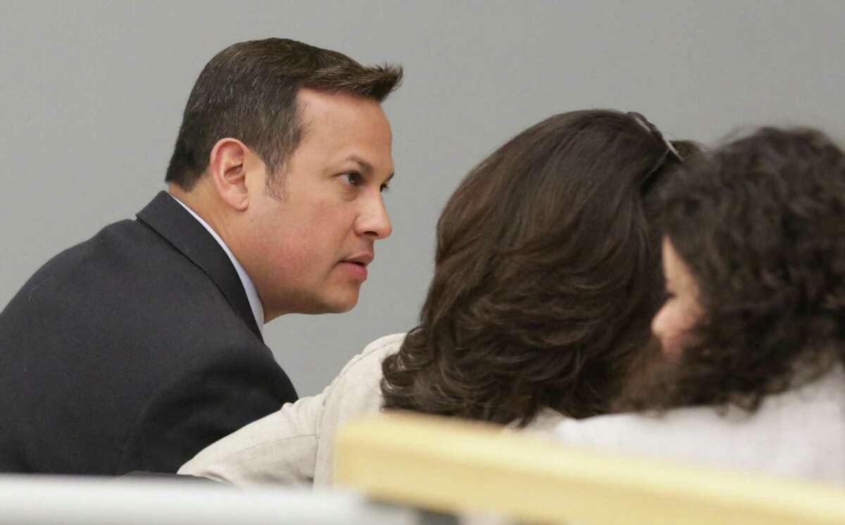 Mark Benavides, a former San Antonio lawyer, appears in the Wilson County Courthouse on Tuesday, March 27, 2018, in Floresville, TX. He is accused of having sex with his clients in exchange for legal services.