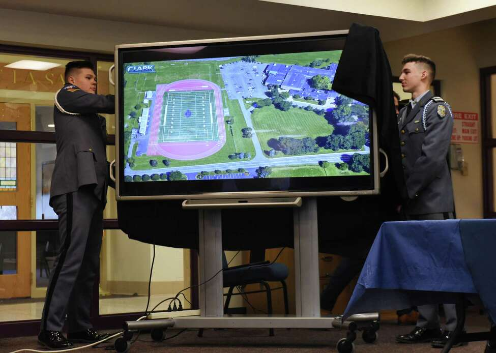La Salle Institute cadets reveal a rendering showing the $1.7 million plan for upgrades to the school's athletics facility on Tuesday, March 27, 2018, in Troy, N.Y. (Will Waldron/Times Union)