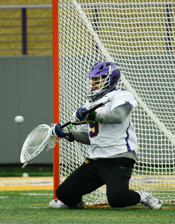 JD Colarusso had a career-high 20 saves against UMass Lowell on Saturday. (Jenn March/Special to the Times Union)