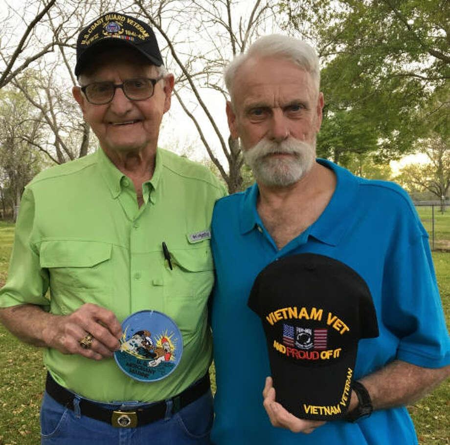 Bill B. Boyd, left, a merchant marine/U.S. Coast Guard veteran, will participate in the April Honor Flight Houston accompanied by his son Billy C. Boyd, a U.S. Army veteran. Photo: Karen Zurawski