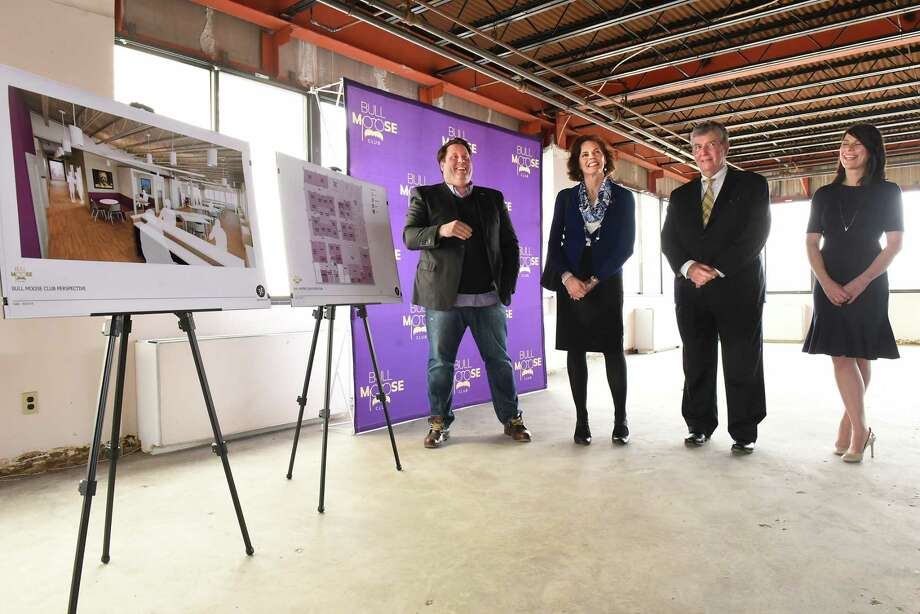 From left, Tom Nardacci, founder of Gramercy Communications, Assemblymember Patricia Fahey, Senator Neil Breslin and Sarah Reginelli, president of Capitalize Albany Corp., all talked during a press conference in the space for the Bull Moose Club which is prepped for construction on Tuesday, March 27, 2018 in Albany, N.Y. (Lori Van Buren/Times Union) Photo: Lori Van Buren, Albany Times Union / 20043323A