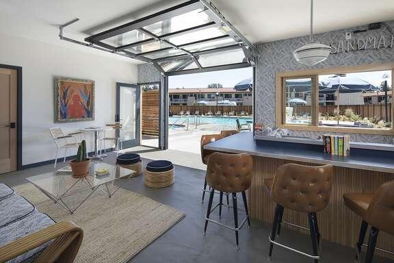 The pool room at the Sandman Hotel in Santa Rosa