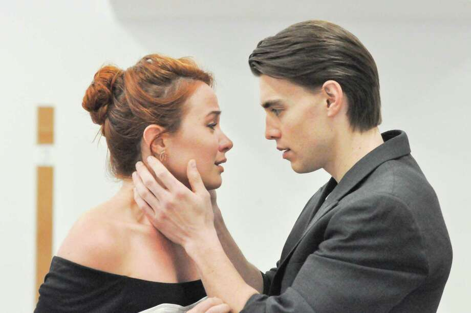 "Sierra Boggess (Countess Ellen Olenska) and Andrew Veenstra (Newland Archer) rehearse a scene for ""The Age of Innocence,"" to be presented at Hartford Stage, April 5 - May 6. Photo: Liss Couch-Edwards / Hartford Stage / Contributed Photo"