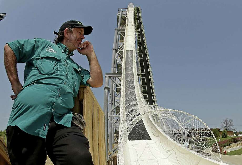 "Designer Jeffery Henry looks over his creation, the world's tallest waterslide called ""Verruckt"" at Schlitterbahn Waterpark in Kansas City, Kan. Photo: Charlie Riedel /Associated Press / Copyright 2018 The Associated Press. All rights reserved."
