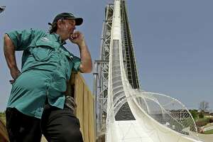 "Designer Jeffery Henry looks over his creation, the world's tallest waterslide called ""Verruckt"" at Schlitterbahn Waterpark in Kansas City, Kan."