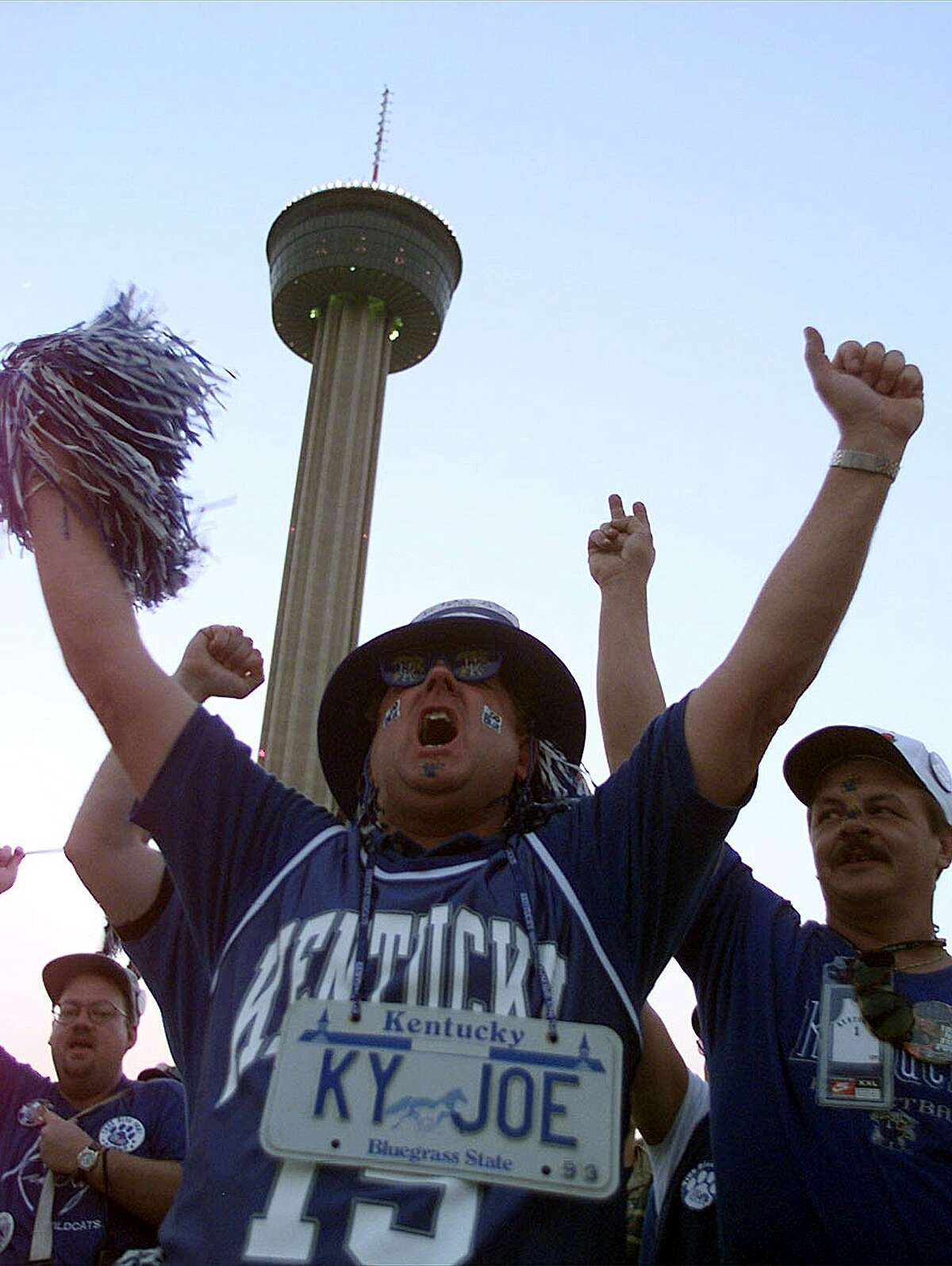 Kentucky fan Joe Crain, Stanford, Kentucky, cheers during a University of Kentucky pep rally at HemisFair Plaza before the NCAA Final Four final against Utah on March 30, 1998, in San Antonio, Texas.