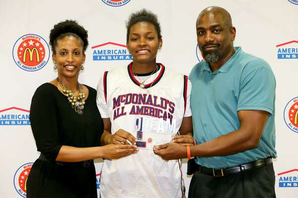 9f33ccf82714 1of4East Central s NaLyssa Smith with her parents Rodney and Nikki Smith  after receiving her McDonalds All-American jersey during a ceremony in the  school s ...