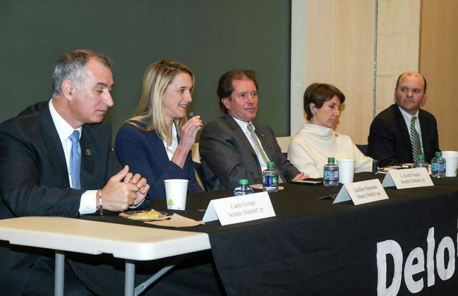 State legislators representing Stamford met Tuesday, March 27, 2018, at the offices of professional-services firm Deloitte, at 695 E. Main St., in downtown Stamford, Conn., for a panel discussion of economic issues, an event organized by the Stamford Chamber of Commerce. From left, are state Sen. Carlo Leone, state Rep. Caroline Simmons, state Sen. L. Scott Frantz, state Rep. Livvy Floren and state Rep. Dan Fox. Photo: Alex Rosenfeld /Expo Events Photography / Copyright © Alex Rosenfeld