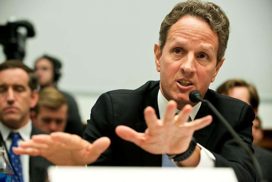 Former Secretary of the Treasury Timothy F. Geithner speaks at a hearing of the House Committee on Financial Services on Capitol Hill July 25, 2012 in Washington, D.C. Geithner appeared before the committee to testify about the Financial Stability Oversight Council's annual report to Congress, and sought to deflect criticism of his handling of the Libor banking scandal, directing U.S. lawmakers' scorn toward London regulators. Photo: BRENDAN SMIALOWSKI;Brendan Smialowski / AFP / Getty Images