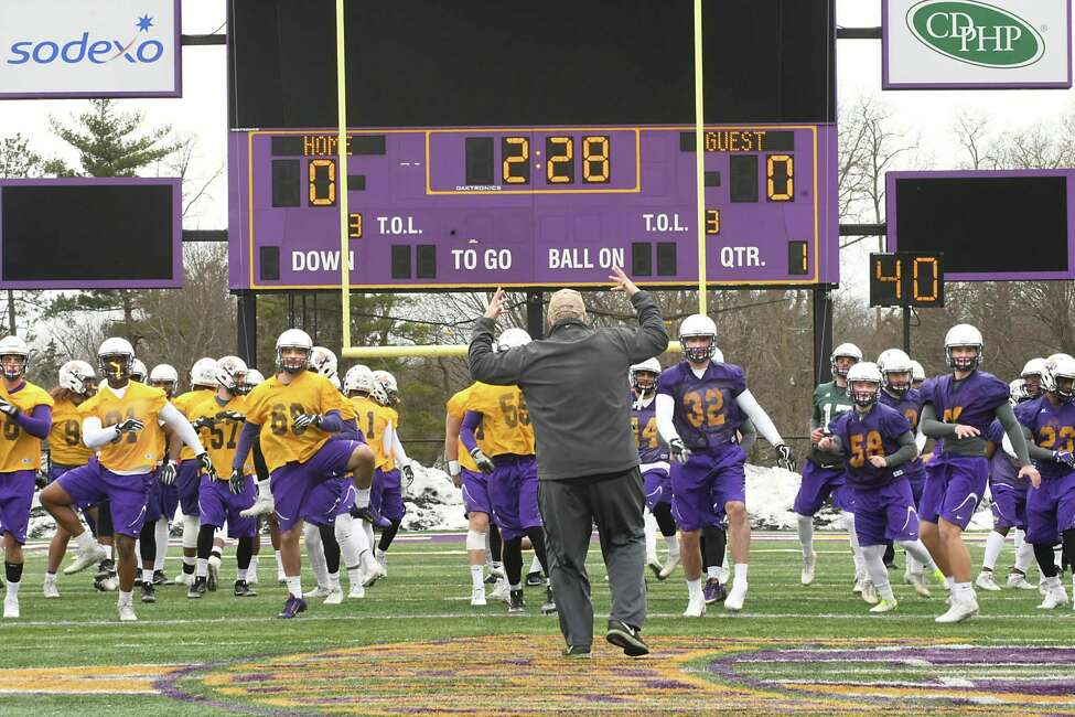 Head coach Greg Gattuso directs a warm up drill as the University at Albany's football team holds its first spring practice at Casey Stadium Tuesday, March 27, 2018 in Albany, N.Y. (Lori Van Buren/Times Union)