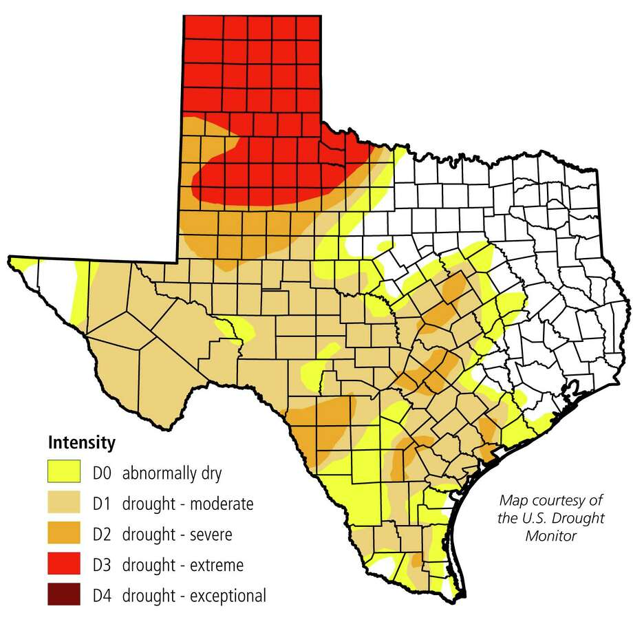 According to the Texas A&M Forest Service, 94 Texas counties have established burn bans across much of the western half of the state. The burn ban map largely mirrors the Texas drought monitor map, released Monday by the Texas Water Development Board. Photo: Texas Water Development Board