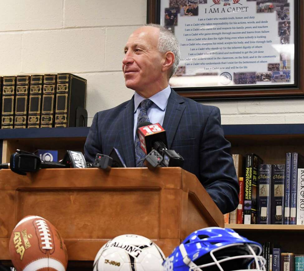 John Audino speaks during a press conference after being named head football coach at La Salle Institute on Tuesday, March 27, 2018, in Troy, N.Y. Audino joins La Salle from Columbia University where he was the Passing Game Coordinator/Running Backs coach. Previously he was the head coach at Union College where he led the Dutchmen to five NCAA Division III playoff appearances, four Liberty League titles and five ECAC Northwest Championships. (Will Waldron/Times Union)