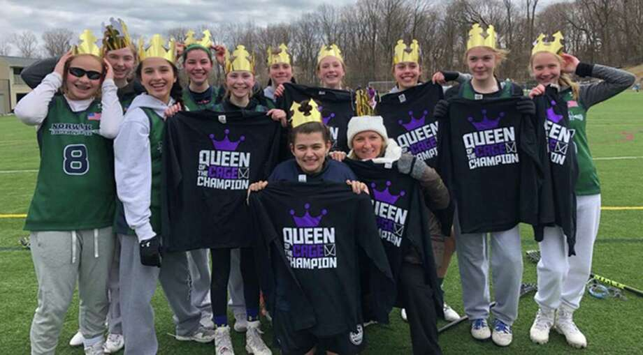 The Norwalk Junior Lacrosse Senior Girls team was crowned Queen of the Cages for winning a local tournament earlier this month. The team was coached by Summer Gigliotti, and players included Lyla Brasher, Morgan Carroll, Ella Corry, Abby DeCesare, Sofia Imbrogno, Lily Koerner, Grace L'Archevesque, Bebe Lesson, Sophia Morales, Sara Spielman and Morgan White. Photo: Contributed Photo