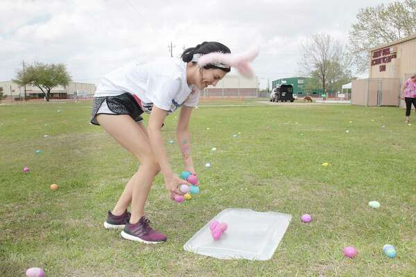 Madeline Greene from Deer Park High School helps set up the egg field before the hunt.