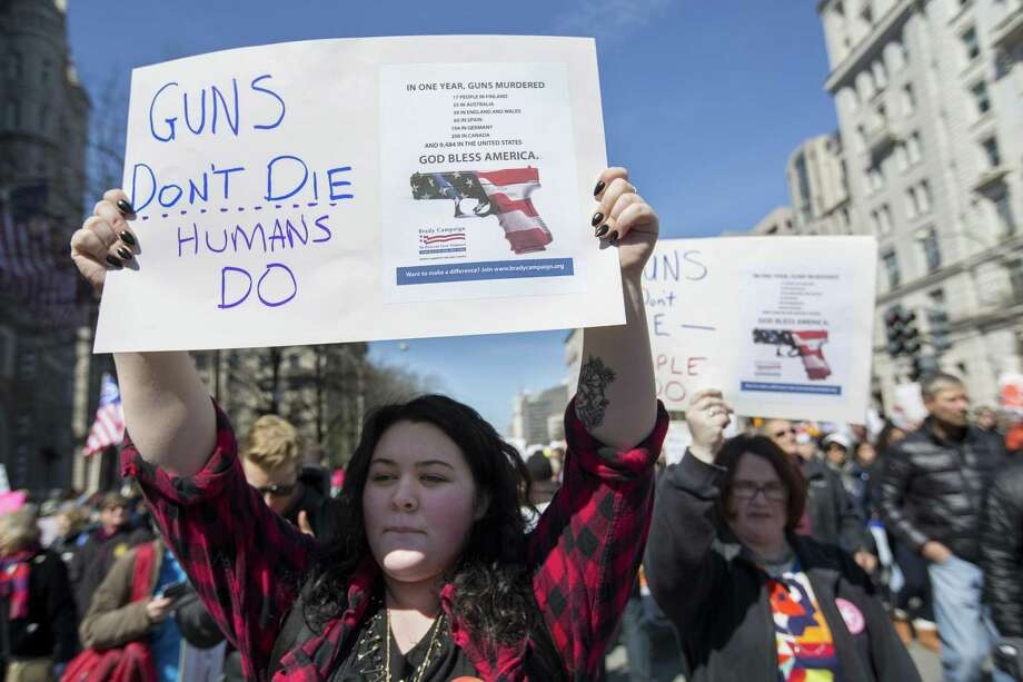 Catherine Walker takes part in the March For Our Lives in Washington. Mental illness and gaming in the U.S. and other industrialized nations are comparable. Gun violence is not. Photo: Mark Pynes /Associated Press / Mark Pynes