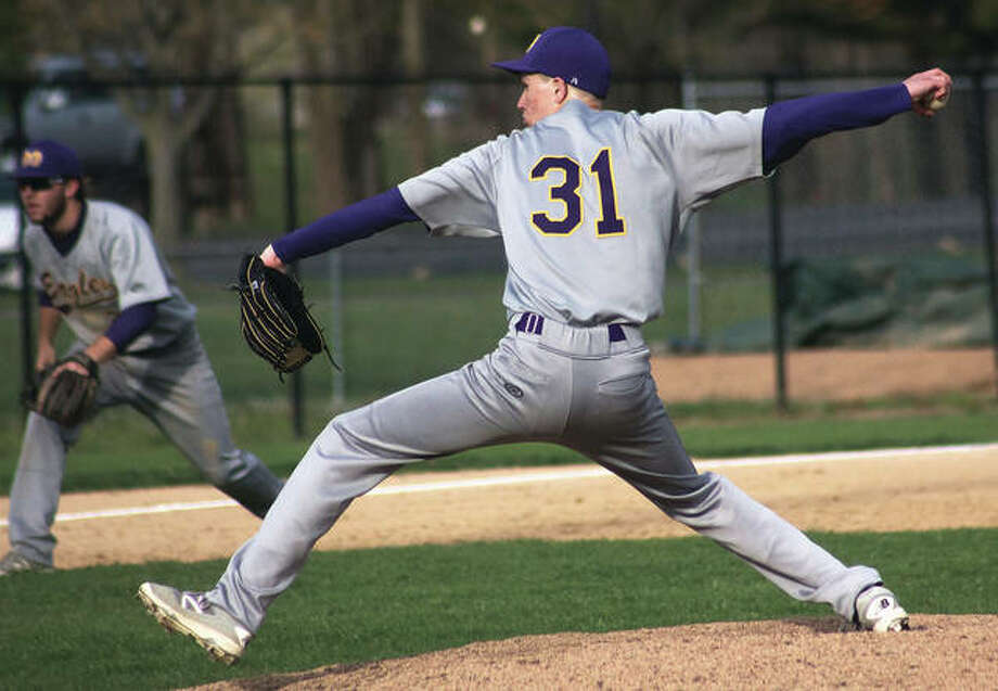 CM's Christian Stawar is one of the Eagles' top returning pitchers. Last season, he was 6-3, with 1.43 ERA, 15 walks and 25 strikeouts in 49 innings. Stawar is shown in action during a 2017 game. Photo: Telegraph File Photo