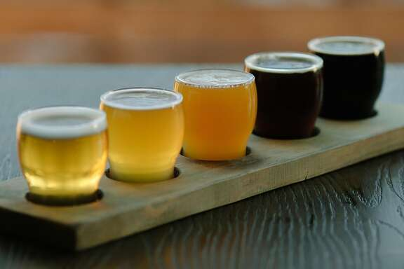 Five Window Beer Co.'s tasting flight photographed in Lodi, Calif., Thursday, March 22, 2018.