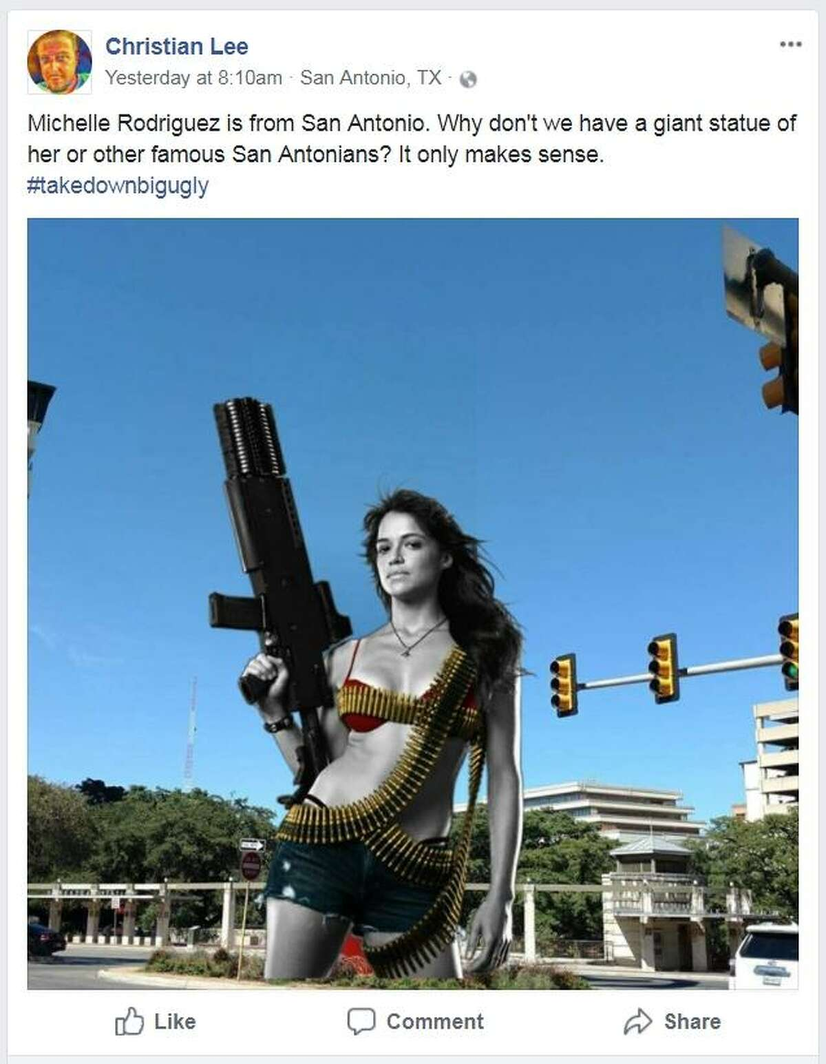 """The satirical Facebook event Take Down The Big Ugly Orange Thing Downtown includes its share of substitutions for """"The Torch of Friendship"""" in downtown San Antonio, such as actress and Bexar County native Michelle Rodriguez."""