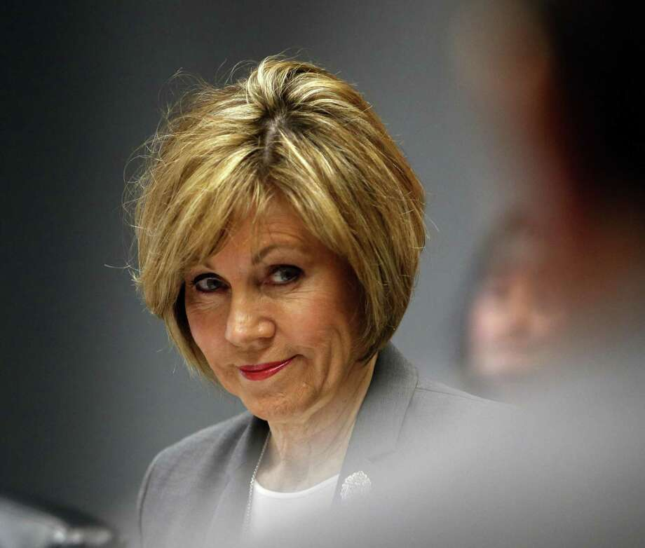 City Manager Sheryl Sculley listens during meeting. The council's Governance Committee meets Wednesday to discuss settting metrics for the city manager on Wednesday, February 28, 2018 at City Hall Briefing Room. Photo: Ronald Cortes, For The San Antonio Express News / 2018 Ronald Cortes