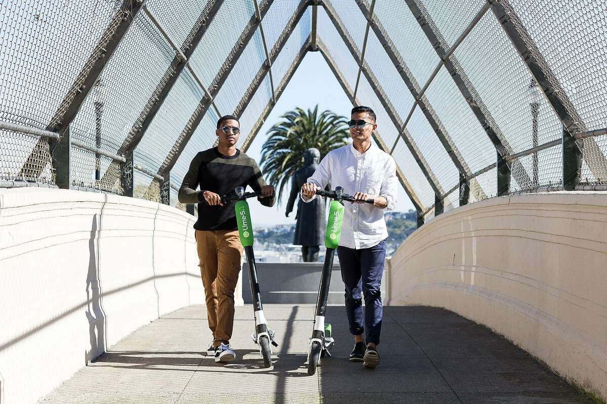 LimeBike debuted electric scooters at pop-up events in San Francisco over the weekend.
