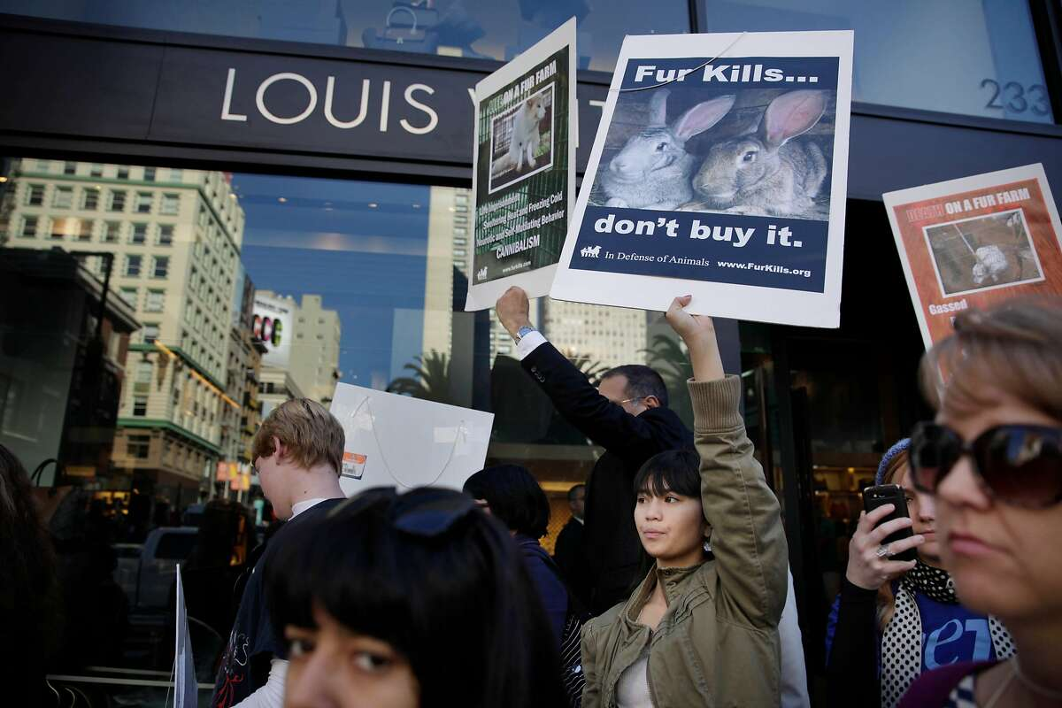 Renee Maquindang (center), 16, of Fairfield demonstrates with others in front of Macy's at Union Square as they protest the use of fur in products at a protest organized by In Defense of Animals on Friday, November 29, 2013 in San Francisco, Calif.