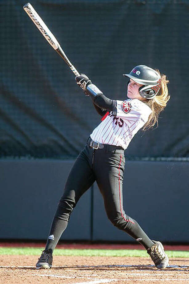 Alyssa Herren and her SIUE Cougars teammates will play at Kansas Wednesday. Herren, a junior outfielder from Saline, Mich., is batting .366 with two home runs and 10 RBIs for the 11-9 Cougars. Photo: SIUE Photo