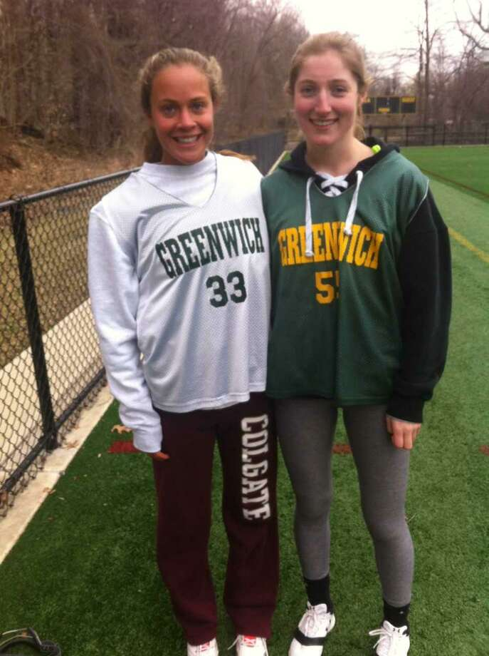 Karina Schulze, left, and Emmeline Kelley are senior captains on the Greenwich Academy lacrosse team. Photo: David Fierro / Hearst Connecticut Media