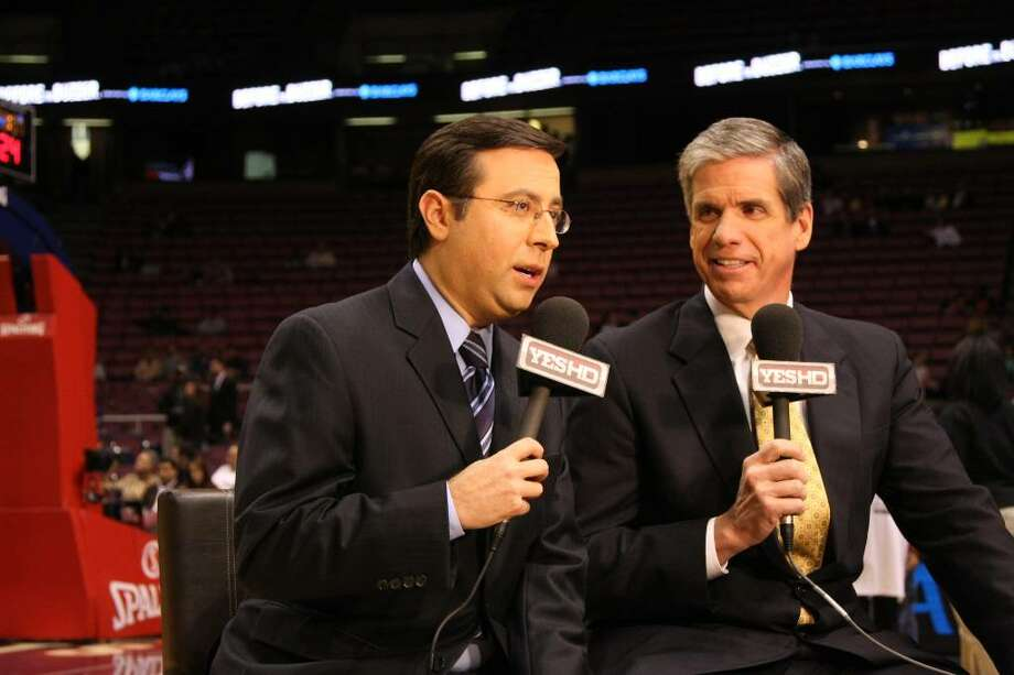 Ian Eagle, left, and Nets broadcasting partner Jim Spanarkel. (Ellen Wallop/YES Network)