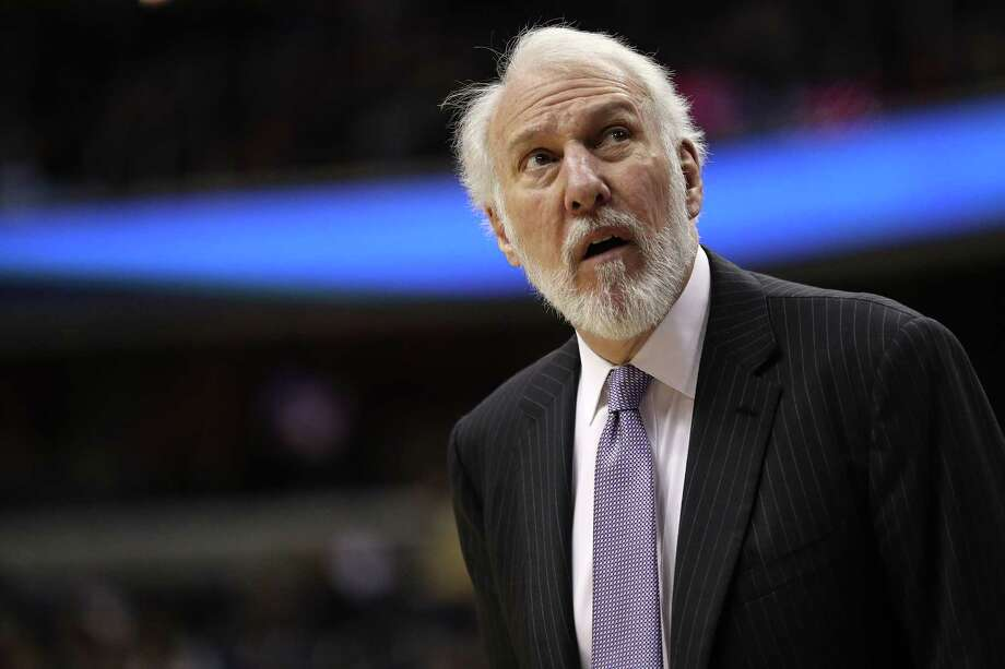 WASHINGTON, DC - MARCH 27: Head coach Gregg Popovich of the San Antonio Spurs looks on against the Washington Wizards during the first half at Capital One Arena on March 27, 2018 in Washington, DC. NOTE TO USER: User expressly acknowledges and agrees that, by downloading and or using this photograph, User is consenting to the terms and conditions of the Getty Images License Agreement. Photo: Getty Images / 2018 Getty Images