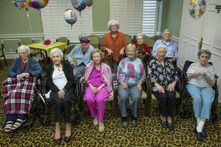Ten centenarians are celebrated at Clarewood House Senior Community, Monday, March 26, 2018, in Houston.  ( Mark Mulligan / Houston Chronicle ) Photo: Mark Mulligan, Houston Chronicle / Houston Chronicle / © 2018 Houston Chronicle