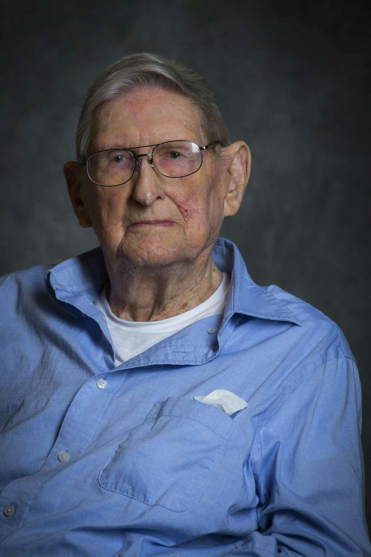 George McMahan, 102, who was born on October 21, 1915, is photographed before a celebration for the ten centenarians (and one who turns 100 later this year) living at Clarewood House Senior Community, Monday, March 26, 2018, in Houston. ( Mark Mulligan / Houston Chronicle )