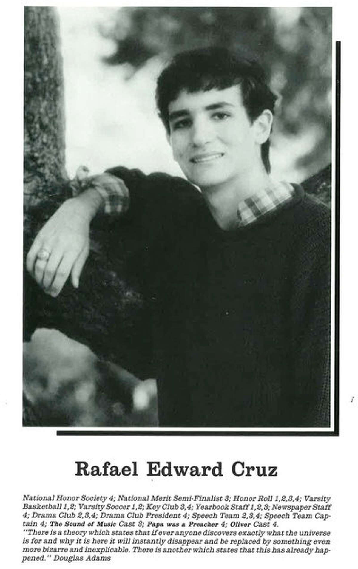 Ted Cruz A young Ted Cruz in hisSecond Baptist High School yearbook photo. Sometime between 1984-1988.