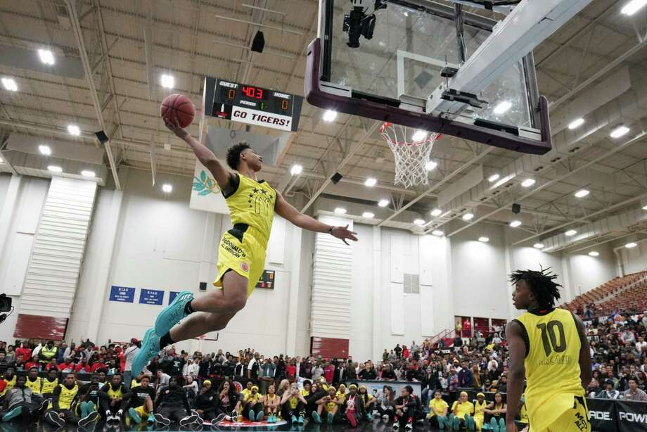 College Park senior Quentin Grimes goes up for a dunk at the Powerade Slam Fest during the McDonald's All-American festivities in Atlanta. Photo: Provided Photo