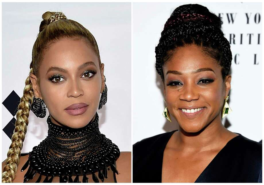 "in this combination photo, Beyonce Knowles attends the Tidal X: 1015 benefit concert in New York on Oct. 15, 2016, left, and ""Girls Trip"" actress Tiffany Haddish attends the New York Film Critics Circle Awards at TAO Downtown on Jan. 3, 2018, in New York. Haddish told GQ magazine in a profile released Monday, March 26, that someone allegedly bit Beyonce on the face at a party back in December. She didn't name the culprit but the story set off Beyonce's social media Beyhive of die-hard fans and a whole lot of internet sleuthing. The mystery even has a hashtag: #WhoBitBeyonce. (Photo by Evan Agostini/Invision/AP) / AP"