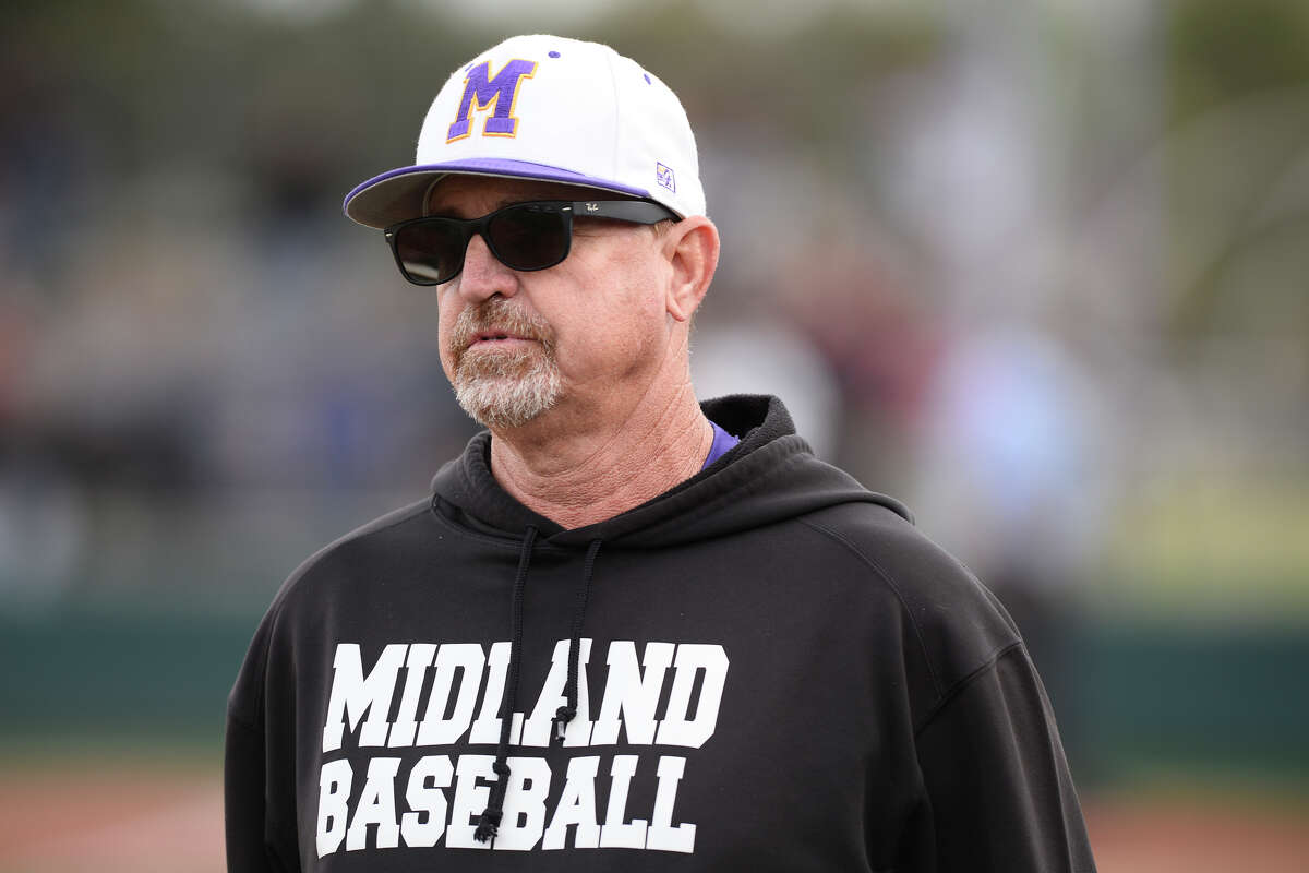 Midland High baseball head coach Barry Russell looks on during the game against Permian March 27, 2018, at Zachery Field. James Durbin/Reporter-Telegram