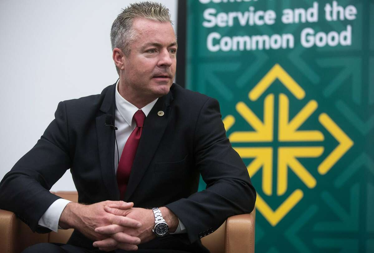 Assemblyman and California Republican Governor candidate Travis Allen speaks with Politico reporter Carla Marinucci as part of the Conversation for the Common Good series at the University of San Francisco's McClaren Complex Tuesday, March 27, 2018 in San Francisco, Calif.