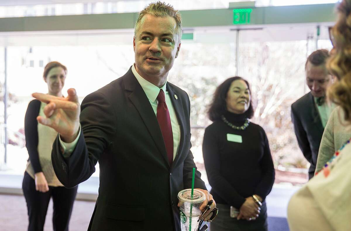 Assemblyman and California Republican Governor candidate Travis Allen arrives before speaking as part of the Conversation for the Common Good series at the University of San Francisco's McClaren Complex Tuesday, March 27, 2018 in San Francisco, Calif.