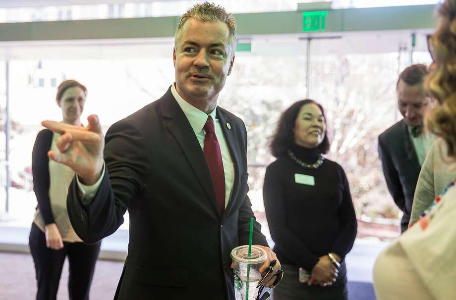 Assemblyman and California Republican Governor candidate Travis Allen arrives before speaking as part of the Conversation for the Common Good series at the University of San Francisco's McClaren Complex Tuesday. Photo: Jessica Christian / The Chronicle
