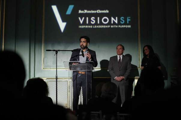 Salman Khan speaks to the guests after being awarded the San Francisco Chronicle VisionSF Visionary of the Year Award at the War Memorial Veterans Building in San Francisco, Calif., on Tuesday, March 27, 2018.