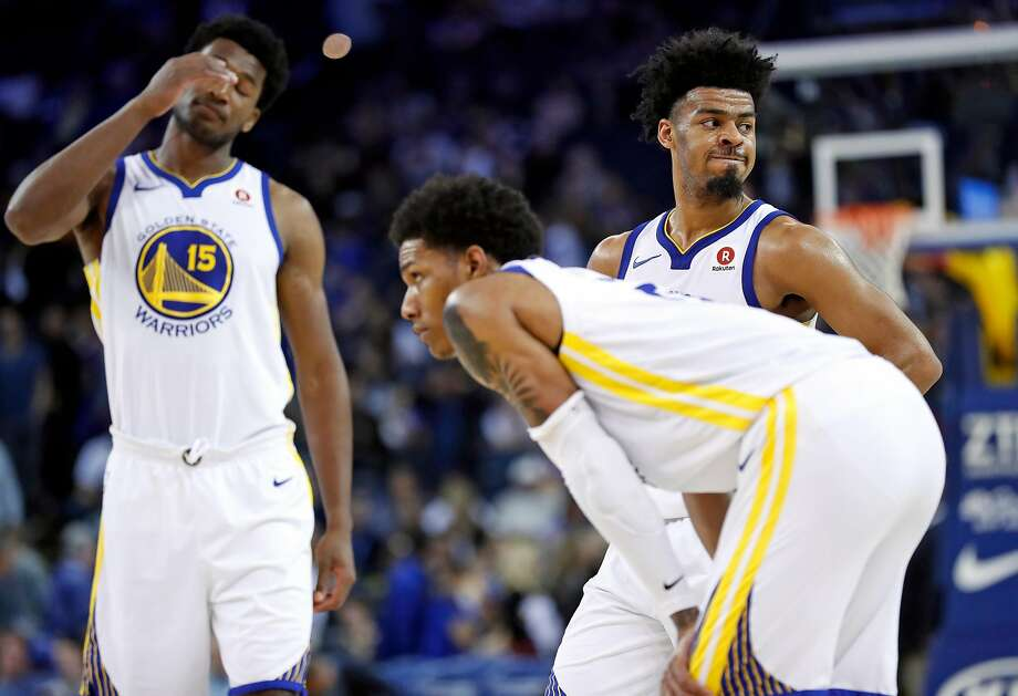 Damian Jones (left), Patrick McCaw and Quinn Cook, the last two of whom started, couldn't provide an offensive spark. Photo: Scott Strazzante / The Chronicle