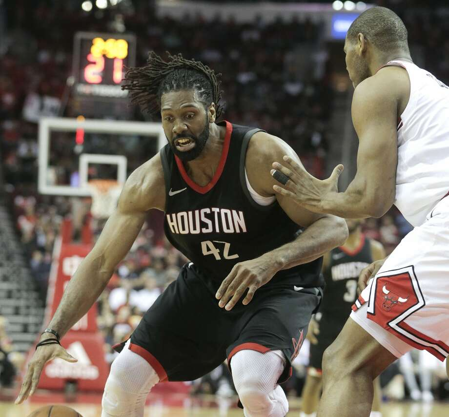 Houston Rockets center Nene Hilario (42) drives under the basket in the first half against the Chicago Bulls at the Toyota Center on Tuesday, March 27, 2018, in Houston. ( Elizabeth Conley / Houston Chronicle ) Photo: Elizabeth Conley/Houston Chronicle