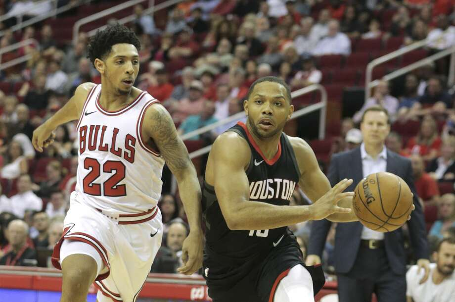 Houston Rockets guard Eric Gordon (10) drives to the basket past Chicago Bulls guard Cameron Payne (22)  at the Toyota Center on Tuesday, March 27, 2018, in Houston. ( Elizabeth Conley / Houston Chronicle ) Photo: Elizabeth Conley/Houston Chronicle