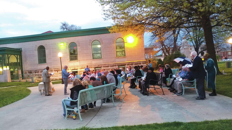 Participants in last year's Ecumenical Easter Sunrise Service gather at the bandstand at Edwardsville City Park. Photo: For The Intelligencer
